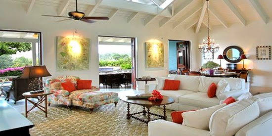 The great room of this beautiful property for sale on Nevis