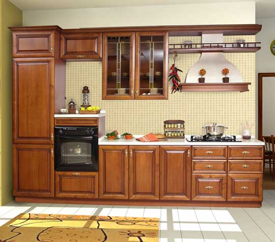 Latest kerala model wooden kitchen cabinet designs wood design ideas for Latest model kitchen designs