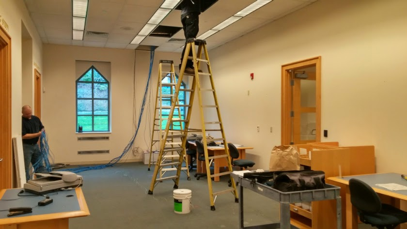 Wiring of the Media Lab is underway.