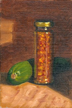 Oil painting of a zucchini beside a tall jar of dried chillies.