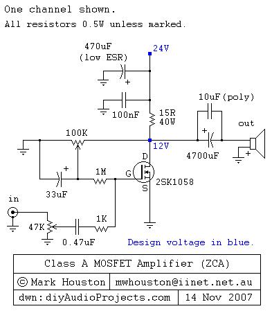koleksi skema rangkaian artikel elektronika 4,8w class a mosfet