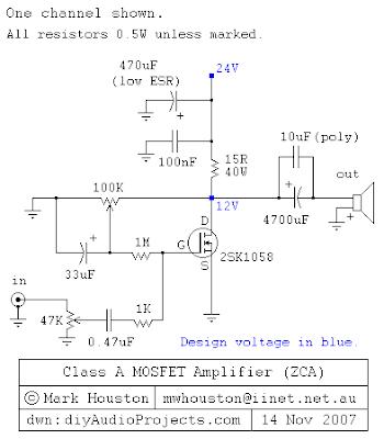 4,8W  Class-A MOSFET Amplifier Circuit