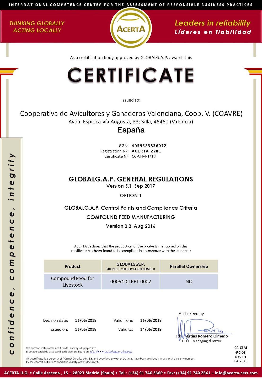 Certificado GLOBALG.A.P.