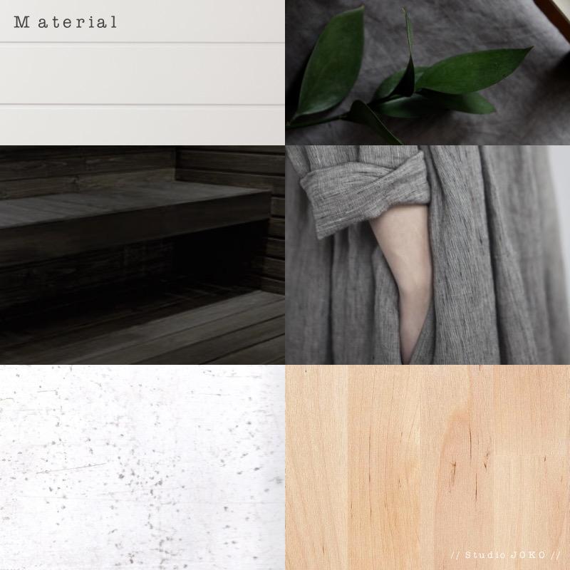 Kuvakollaasi sisustussuunnitelman materiaaleista