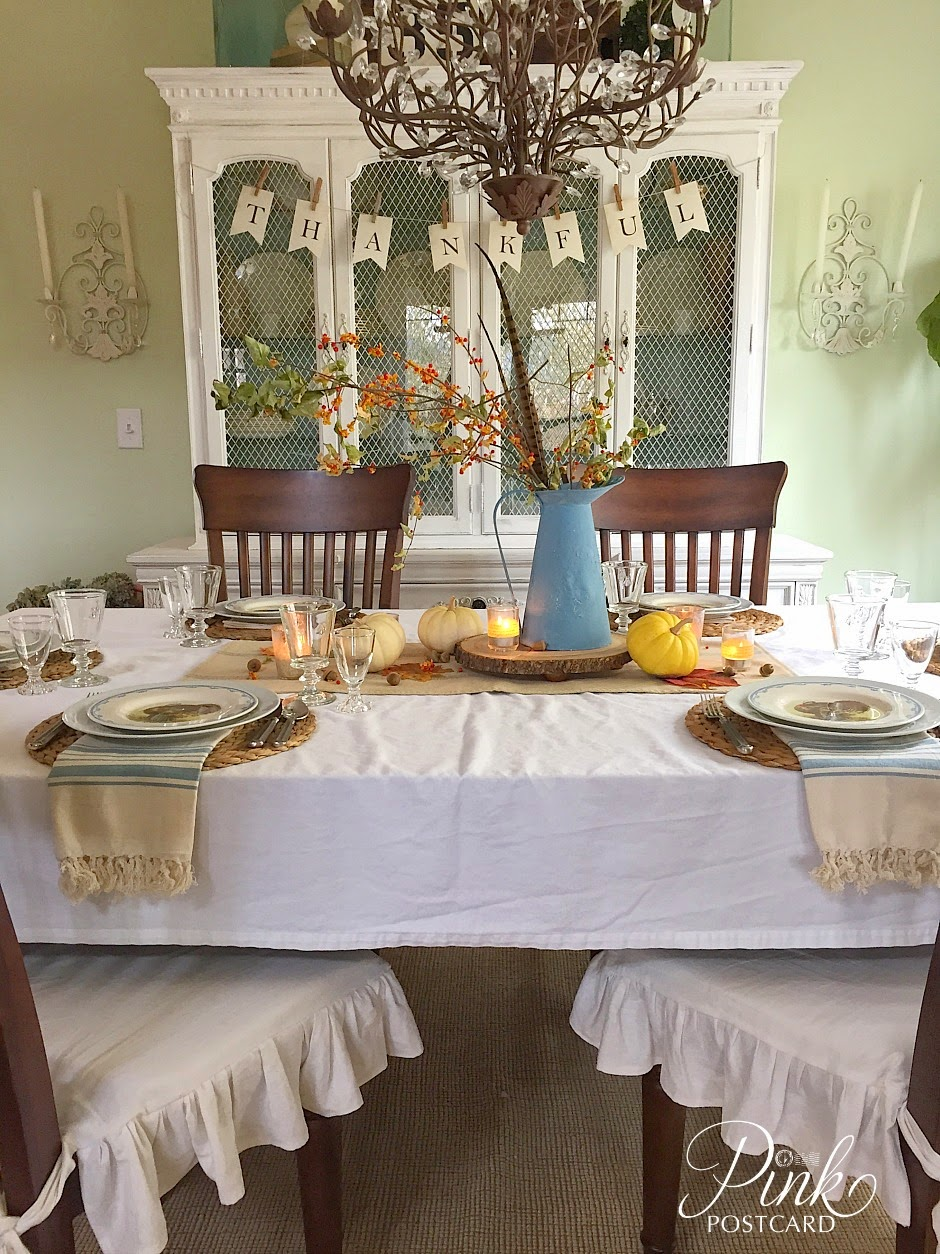 vintage rustic Thanksgiving table setting, and a story - Noble Vintage