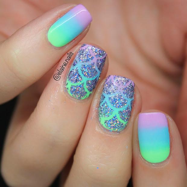 elaine nails pastel neon mermaid