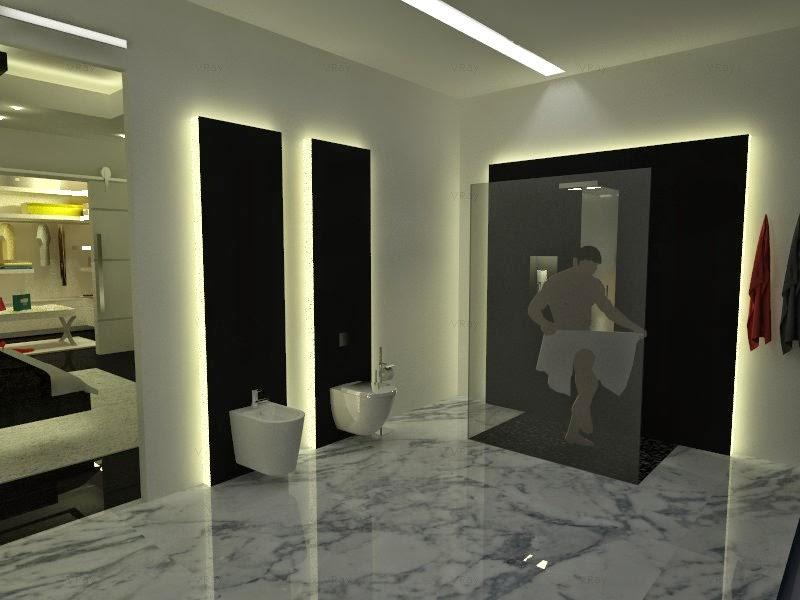Cuarto Baño Vestidor: suit (dormitorio, baño, vestidor y terraza) en 3D con Sketchup y Vray