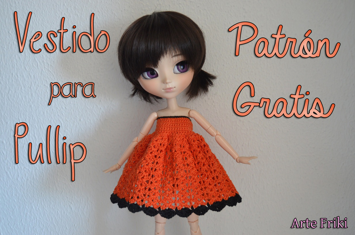 vestido crochet ganchillo pullip ddalgi barbie blythe patron pattern gratis free cute kawaii español spanish tutorial paso a paso how to videotutorial doll muñea