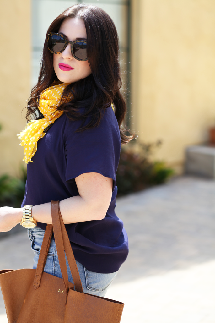 cuyana-tote-fraas-yellow-polka-dot-scarf-le-tote-top-mac-girl-about-town-lipstick-michael-kors-watch-karen-walker-super-duper-strength-sunglasses-king-and-kind