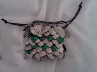 Silver & green scalemail dice bag with black drawstring