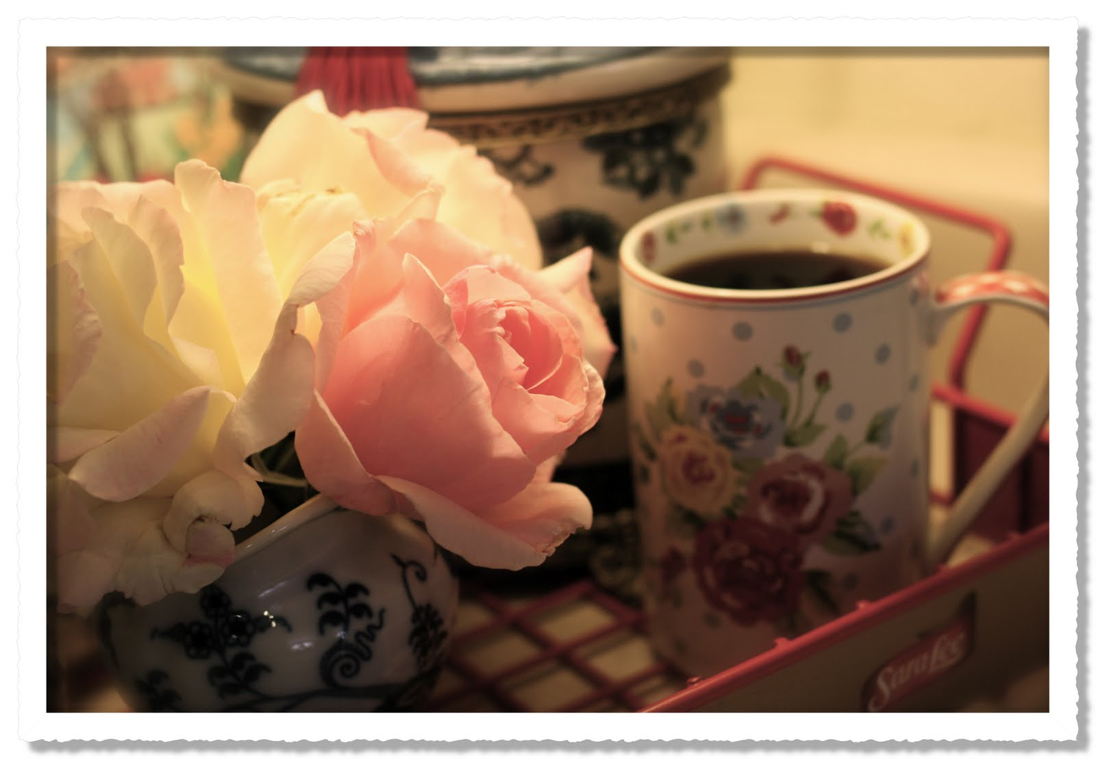 Rose Vignettes Good Morning Coffees Ready