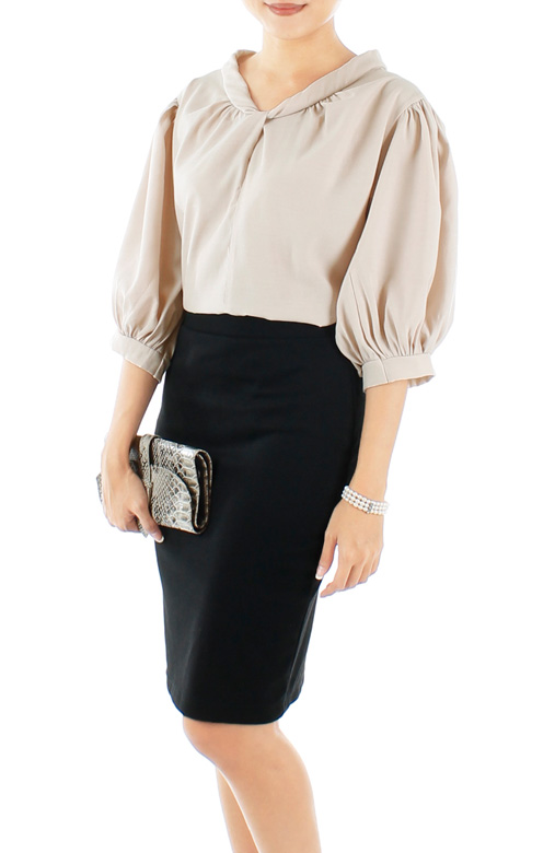 Champagne Piper Knot Blouse with Tie Back