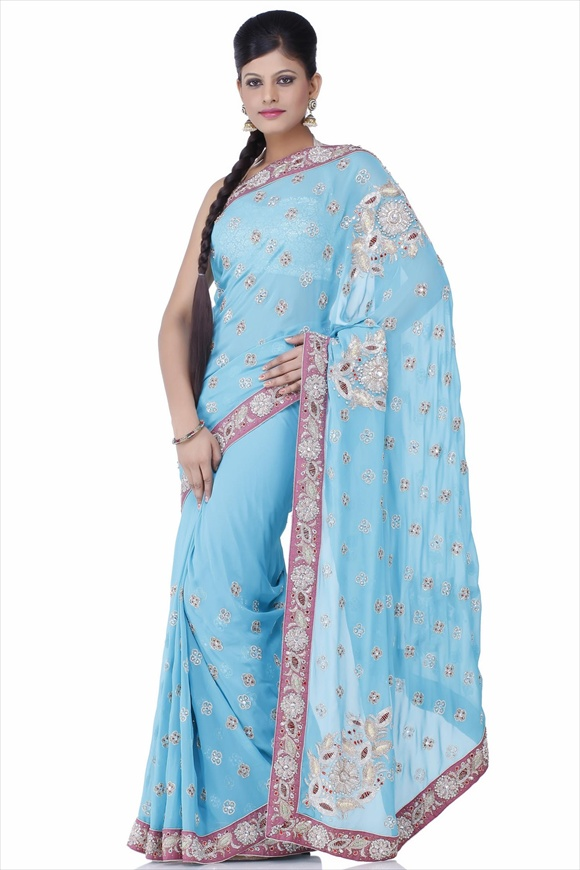 Latest Blue Indian Net Sarees Collection Latest Fashion