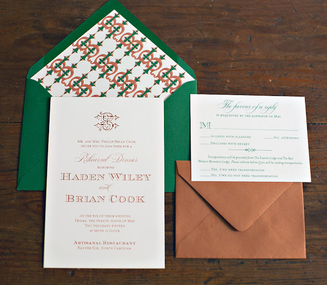 Copper and Hunter Green Wedding Invitation