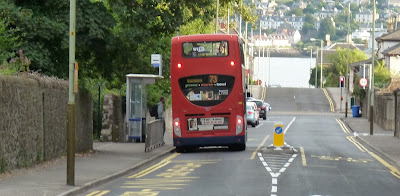 Bus at new bus stop for Grove Academy on Claypotts Road