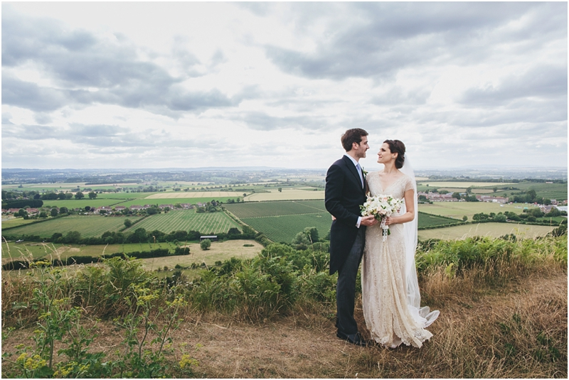 Bride and groom on top of Ham Hill