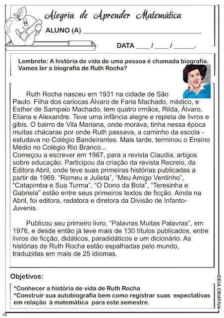 Atividade Matemática Explorando a Biografia de Ruth Rocha