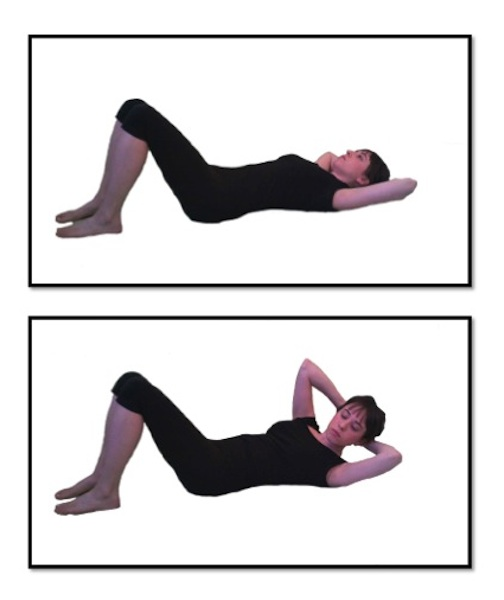abdominal curl This exercise is often used in pilates classes as a warm-up for spine and abdominal muscles pelvic curl also helps coordinate breath and movement.