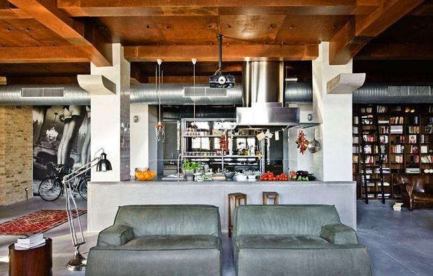 industrial un loft masculino urbano e industrial decoraci n. Black Bedroom Furniture Sets. Home Design Ideas