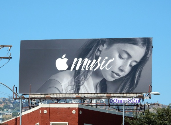 Black and white Apple Music launch billboard