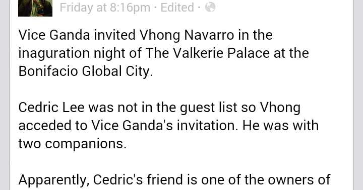 Fashion Pulis Fb Scoop Vice Ganda And Vhong Navarro 39 S Statement On Encountering Cedric Lee