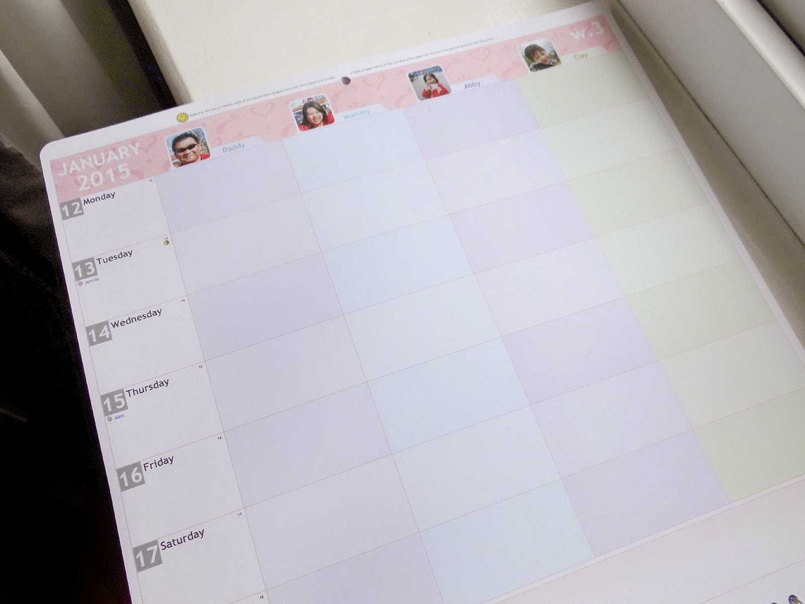 wall calendar, family calendar, personalised calendar