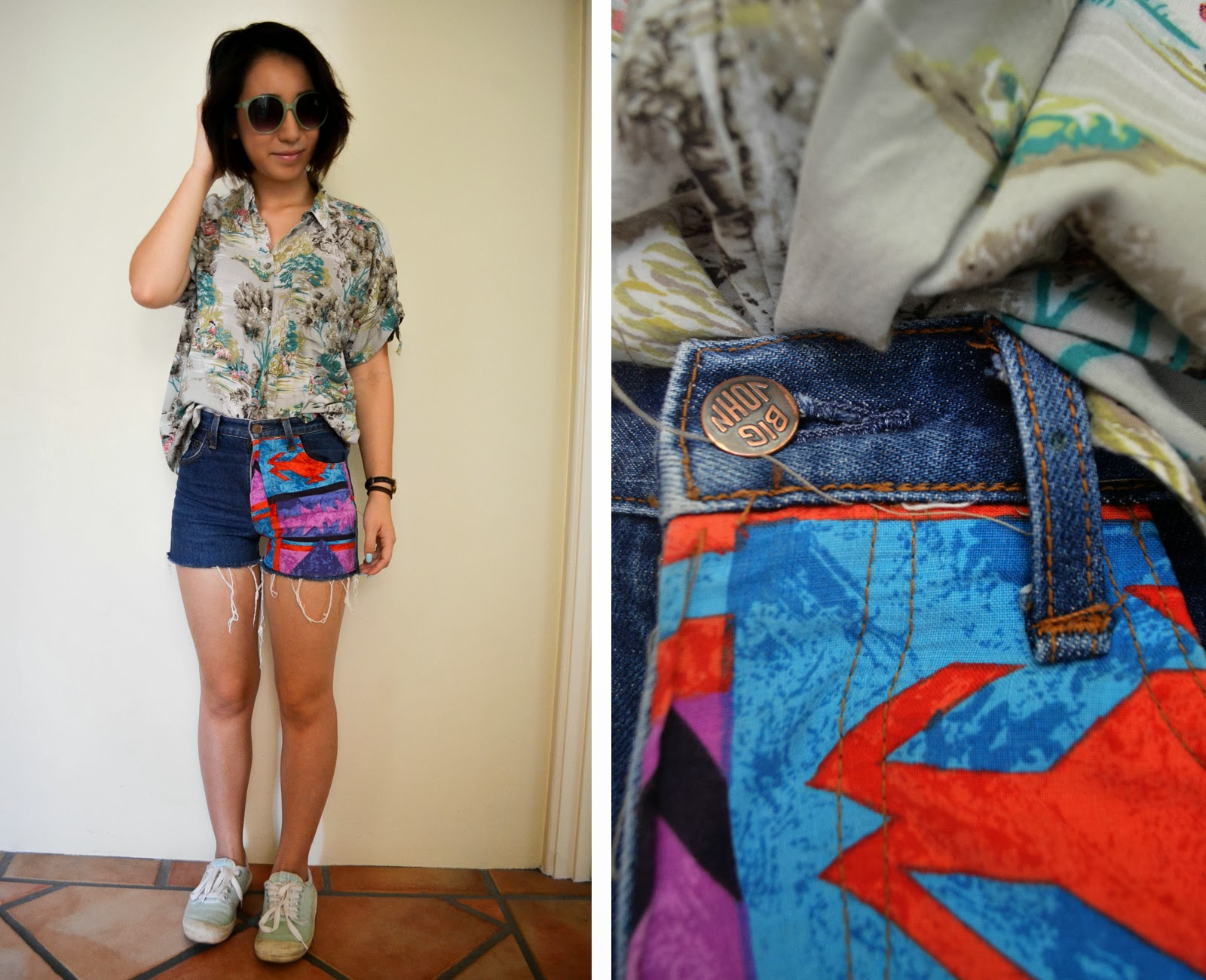 vintage prints clashing patterns shorts shirt denim cutoffs distressed shoes topshop sunglasses look outfit inspiration style