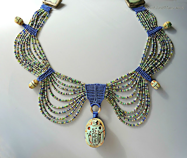 Egyptian style collar in macrame by Sherri Stokey of Knot Just Macrame.
