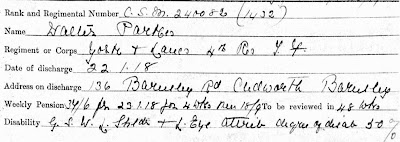 A snip from Walter Parkes' discharge documents giving details of his pension and wounds.