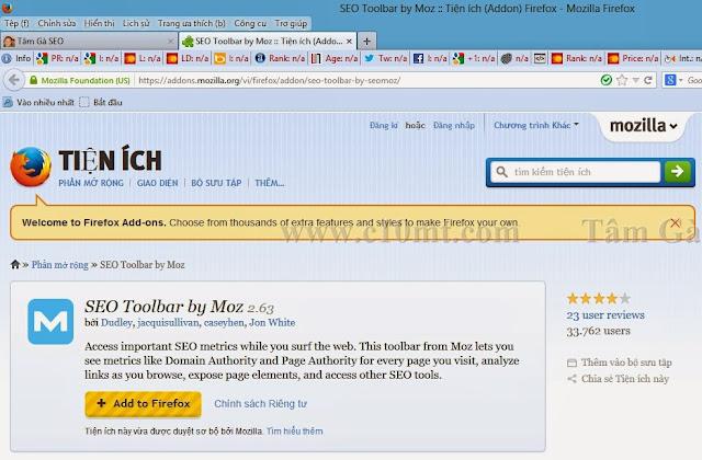 Seomoz Toolbar Hướng dẫn sử dụng và cài đặt Seomoz