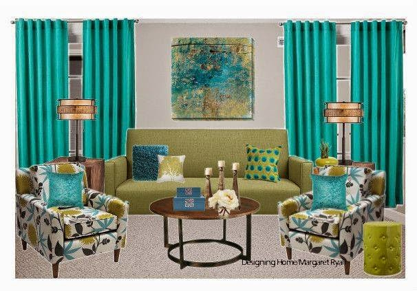 vibrant drapes, turquoise drapes, vibrant living room, Designing Home