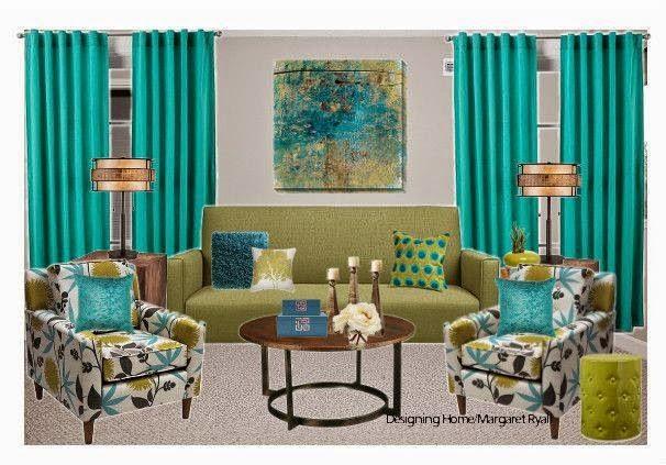 vibrant drapes, turquoise drapes, vibrant living room, Designing Home