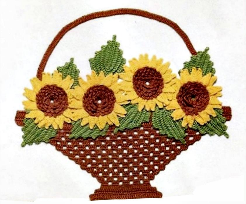 крючком корзину с цветами