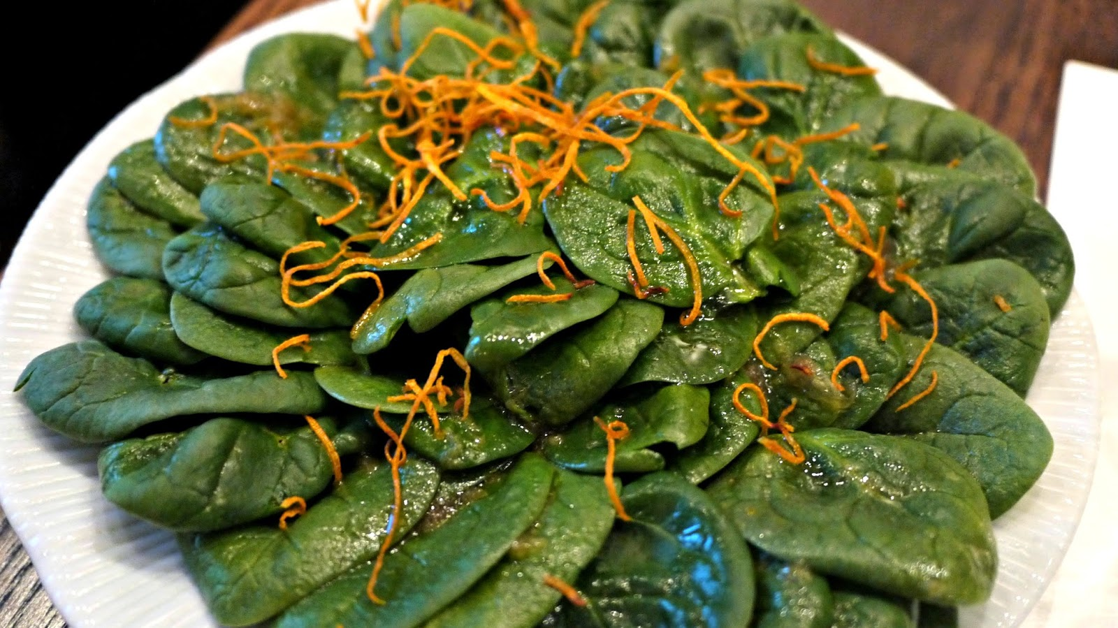 Spinach salad with Yuzu and Soy dressing