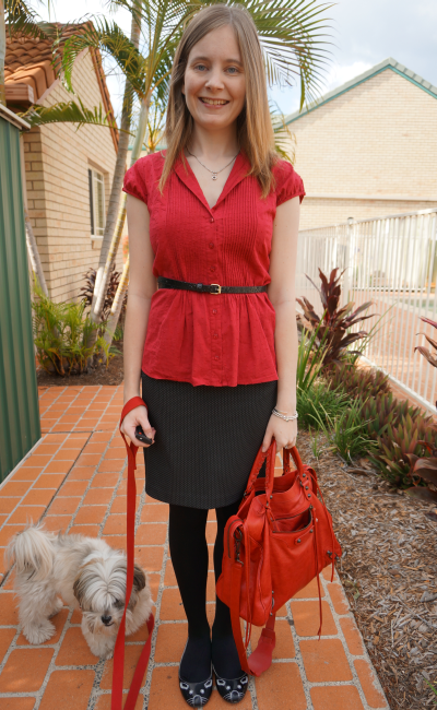 red shirt belted with pencil skirt office wear