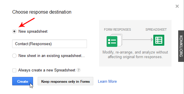 Google Drive Create a new spreadsheet