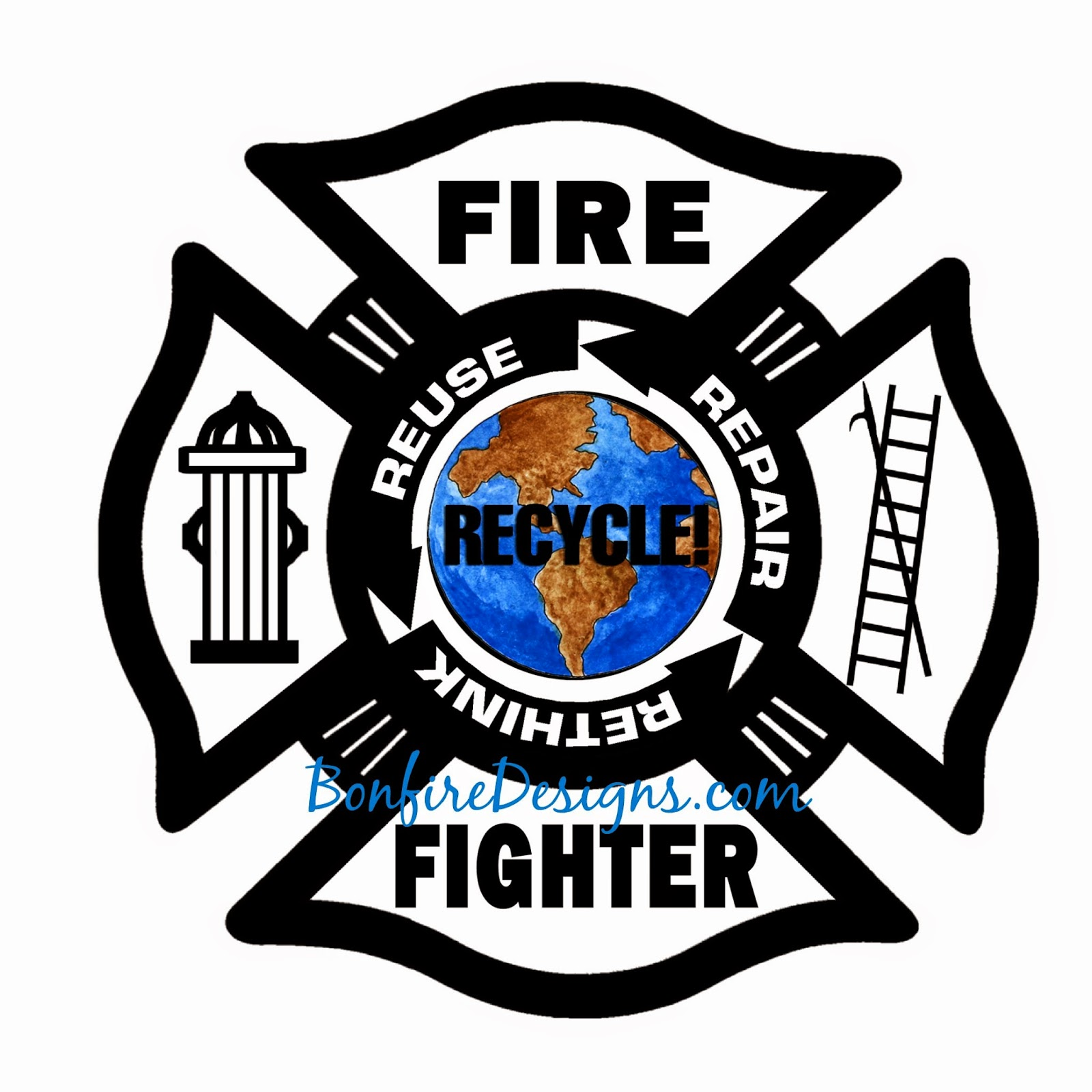 Firefighter Recycle Green Energy Logo Shirts and Gift Ideas