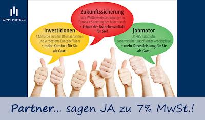 Bundestagswahl 2013. Sieben Prozent Mehrwertsteuer für Hotels! Investitionen, Jobmotor, Zukunftssicherung
