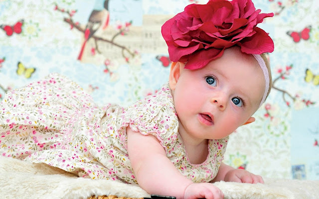 111111-Baby Girl With Big Red Flower Headband HD Wallpaperz
