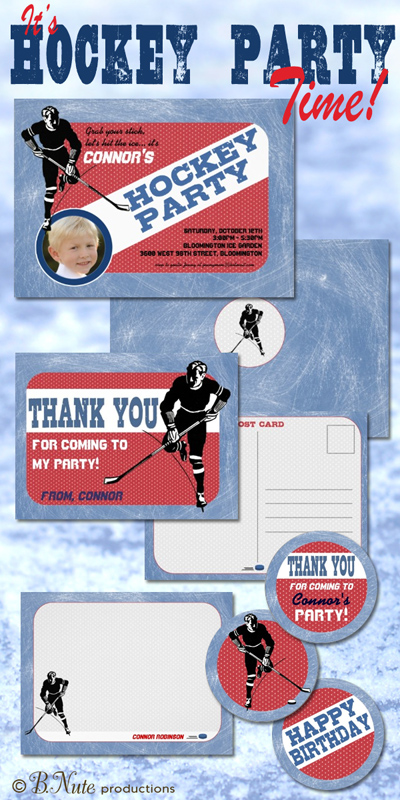bnute productions Hockey Party Invitations and More