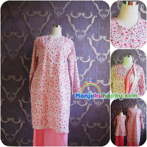 Baju Kurung Moden Menyusu Sedondon dengan anak Pink Jasmine BKibu bf4