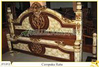 Tempat tidur ukiran kayu jati Cempaka Ratu duco marmer warna