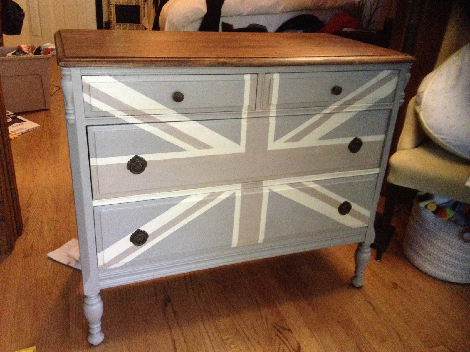 Painting A Union Jack/British Flag On A Dresser Tutorial   **MegMade**