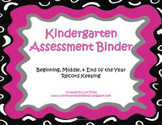 Kindergarten Assessment Binder to organize data