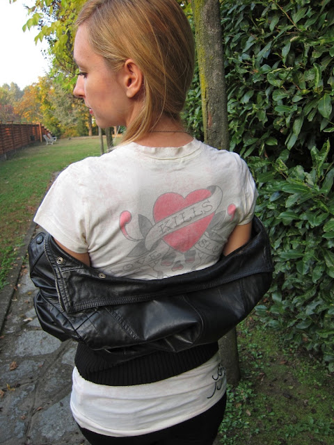 patrizia pepe giacca di pelle jacket leather edhardy t-shirt