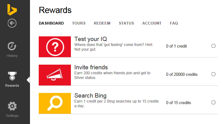 Check your bing rewards dashboard, complete the tasks and earn ...