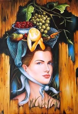 retrato de mujer con frutas al oleo