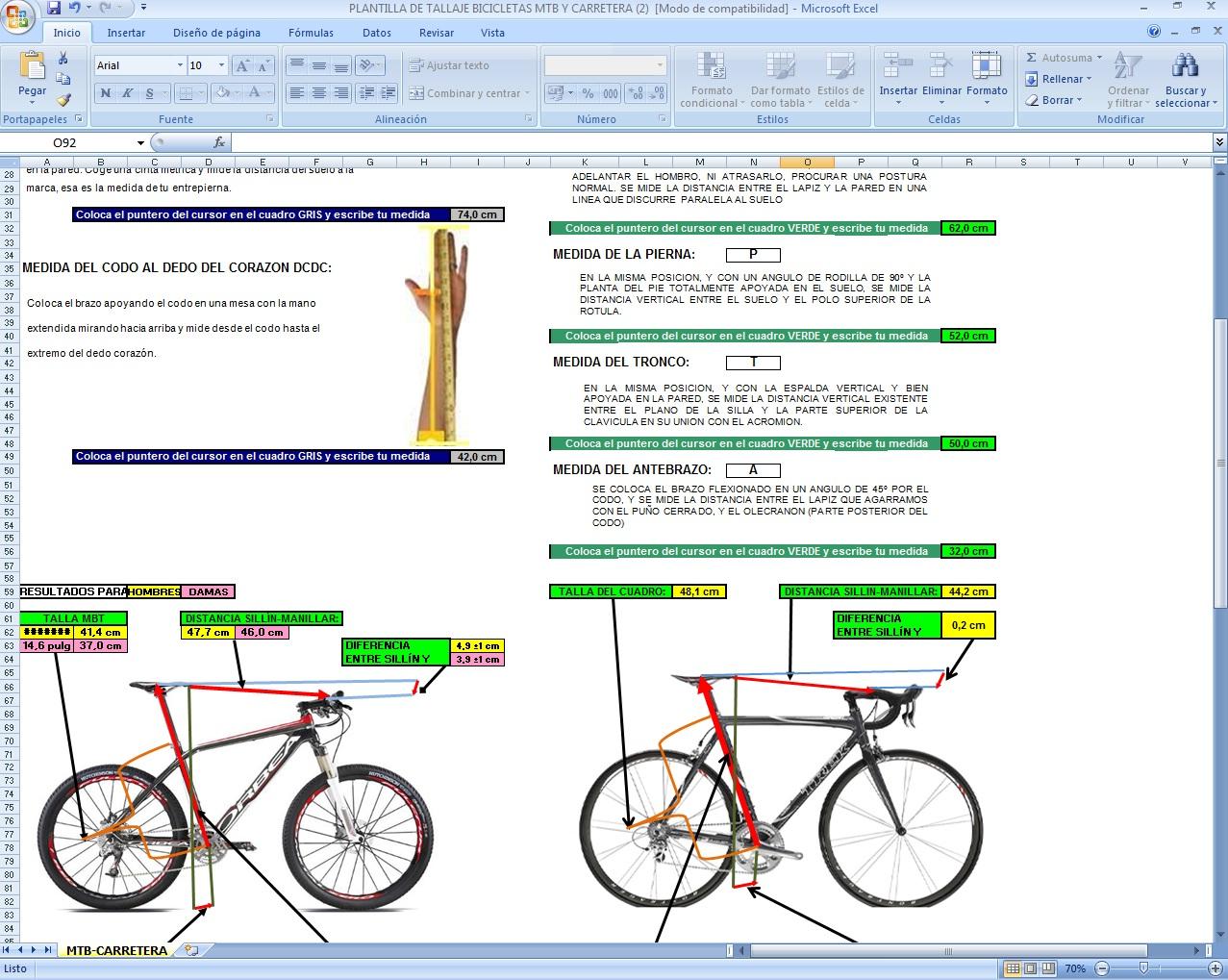 Club Ciclista la Cañada: Plantilla para tallaje de nuestra bici