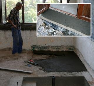 Kitchen door step, and living room floor