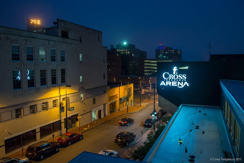 Portland, Maine USA August 2015 Cross Insurance Arena sign from Free Street parking garage at night. Photo by Corey Templeton.